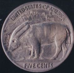 ) Coin: (F) Hobo Nickel, Water Buffalo, Coins, Carving, Animal, Rooms, Wood Carvings, Sculptures, Animals