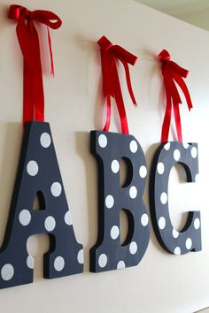 Hanging Nursery Letters by AnnAllisonPaperGoods on Etsy