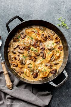 Tender and flavorful, this Skillet Chicken and Mushroom Wine Sauce is easy enough for a weeknight family dinner and good enough for an elegant dinner party with your best company. Fork tender, easy to make, flavorful and delicious! Chicken Wild Rice Casserole, Skillet Chicken, Skillet Meals, Skillet Recipes, Mushroom Wine Sauce, Mushroom Chicken, Cauliflower Mushroom, Tomato Sauce, Chicken Honey