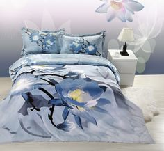 Magnolia Flower Blue Grey Bedding 3D Duvet Cover Set #prints #printable #painting #canvas #empireprints #teepeat