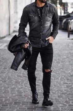 All Black Men, All Black Fashion, Denim Shirt With Jeans, Denim Shirts, Ripped Jeans, Smart Casual Outfit, Casual Outfits, Black Outfit Men, Mode Sombre