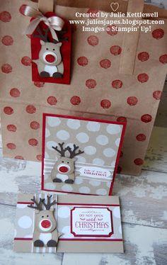 Julie Kettlewell - Stampin Up UK Independent Demonstrator - Order products 24/7: Reindeer Tag & Bag