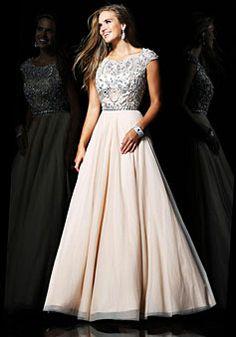 A-line Chiffon Scoop Natural Waist Floor-Length Zipper Cap sleeve Appliques Beading Prom Dress