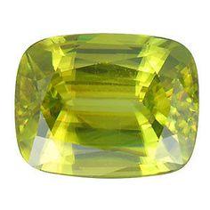 Sphene Yellow Green Facet Loose Gemstones 10 x 8 MM Cushion Shape 4.27 Carat #RainbowSapphireJewelers
