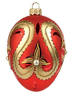 Faberge Inspired RED Pearl EGG Polish Blown Glass Christmas OR Easter Ornament | eBay