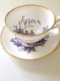 Antique Rare Royal Chelsea English Bone China Scenic Tea Cup & Saucer Artist…