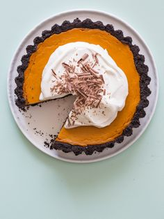 Pumpkin Pie with a Chocolate Crust recipe. Perfect for Halloween or even Thanksgiving.