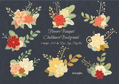 Logo inspiration | Flower Bouquet Chalkboard Background by Delagrafica on Creative Market