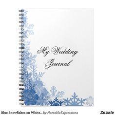 Blue Snowflakes on White Wedding Journal