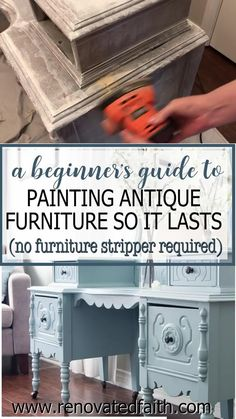 Whether your style is whimsical, funky or farmhouse, here's the easiest way to refinish antique furniture without brush strokes or streaks. This post & video tutorial also explains how to spray furniture knobs and handles with metallic spray paint. Included are color ideas & the best kind of paint for wood furniture: chalk paint vs. milk paint vs. latex paint. I also address if you can paint furniture without sanding. Painting Wood Furniture White, Painting Metal Cabinets, Milk Paint Furniture, Furniture Knobs, Furniture Makeover, Spray Painting Metal, Chalk Spray Paint, Chalk Paint Tutorial, Metallic Spray Paint