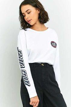 Shop Santa Cruz Long Sleeve T-Shirt at Urban Outfitters today. Santa Cruz Clothing, Santa Cruz Shirt, Nike Shirts Women, Hollister, Cool Outfits, Casual Outfits, Jumper Shirt, Teenager Outfits, Casual Street Style