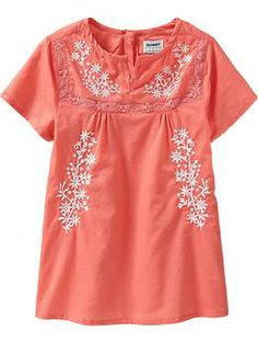 Embroidered Poplin Tunics for Toddler girls