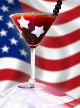 American Dream cocktail -- cherry rum, pomegranate juice, and pomegranate liqueur; stars are made from white fondant