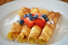 Easy Crepes! Use the blender to mix ingredients.  Add the sugar in the batter (still are not very sweet with the sugar).