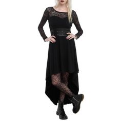 Royal Bones Black Lace Sleeve Hi-Lo Dress | Hot Topic ($40) ❤ liked on Polyvore featuring dresses, short in front long in back dress, hi low dress, lace sleeve dress, short and long dresses and dip hem dress