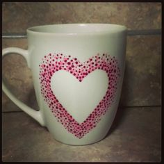 pink heart coffee mug by sarahmarie28 on Etsy, $12.00