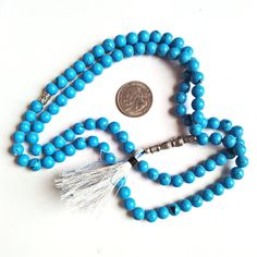Prayer Worry Beads Tasbih 101 BEAD TASBIH Synthetic Sky Blue Turquoise Gemstone Handmade Oxidized silver Bead and Imam Beads by gemsandjewells on Etsy Turquoise Gemstone, Turquoise Jewelry, Turquoise Bracelet, Silver Beads, Beaded Necklace, Oxidized Silver, Gemstones, Trending Outfits, Unique Jewelry