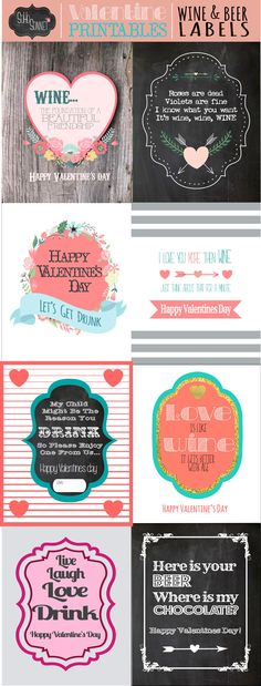 Free Valentines day Wine Beer Printable labels for gifts- SohoSonnet Creative Living