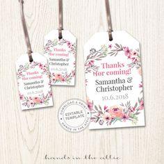wedding favor tags template