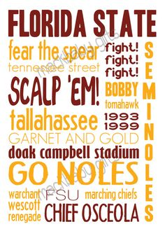 I need this! Love. Florida State University Printable Sign 5x7 by MackbabyGifts, $8.00