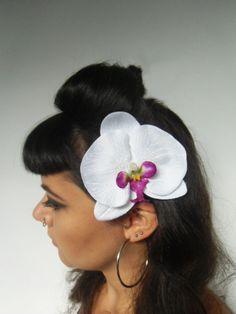 Pince clip barette cheveux fleur orchidee orchidees tissu blanc pinup retro