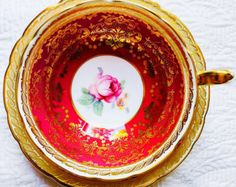 Paragon Ruby Red and Gold Filigree 1940's Teacup and Saucer - Edit Listing - Etsy