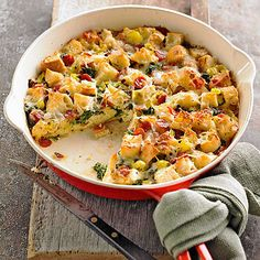 This Spicy Sicilian Strata gets a boost of flavor from hot pepperoni slices and pepperoncini peppers. See more breakfast recipes: http://www.bhg.com/recipes/breakfast/brunch/egg-recipe-ideas-for-brunch/?socsrc=bhgpin041513sicilianstrata=8