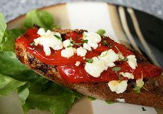 Italian Food Forever » Roasted Pepper And Goat Cheese Bruschetta
