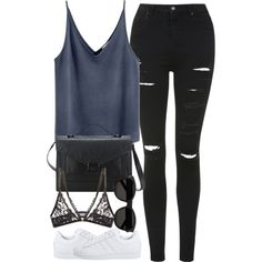 Untitled #3392 by london-wanderlust on Polyvore featuring Topshop, Mimi Holliday by Damaris, Loeffler Randall, Yves Saint Laurent and adidas Originals