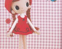Retro Showa Era Kawaii Girl Felt Rag Pose Doll with Cuckoo bird pdf E PATTERN in Japanese & Template Titles in English (plush stuffed toy)