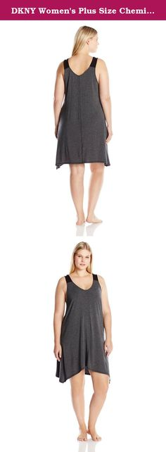 DKNY Women's Plus Size Chemise, Charcoal Heather, 1X. Smooth modal that drapes to perfection makes the DKNY plus size chemise a morning to night staple.