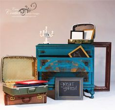 A Punch Of Color ~ teal painted antique dresser ~ distressed furniture ~ interior design ~ vignette ~ see more: http://casacouturefurnituredesigns.com/product/14309/ DOMESTIC SHIPPING AVAILABLE
