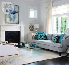 Great use of colour and texture to give a cosy yet arty living space