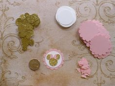 Made using Cardstock by Recollections (Michaels craft store brand) you will receive: 20- Minnie Head Shapes - Gold Glitter 1 inch with Bows - and 20 Medium Pink Scallop Circle punchies and 20 plain edge circle punchies from White cardstock (1 & 3/8 size circles) - Die Cut pieces