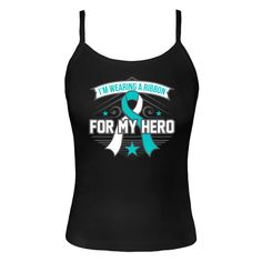 Show your support for someone you know battling Cervical Cancer with I'm Wearing A Ribbon For My Hero Spaghetti Tank Tops featuring a unique decorative ribbon design #CervicalCancerAwareness