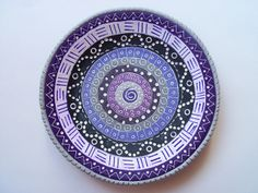 polymer clay ring dish in purples and gray