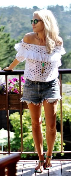Eyelet Ruffle Top Casual Style