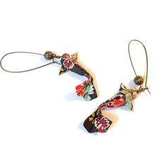 Boucles d'oreilles poisson carpe koi origami sur dormeuses bronze
