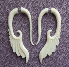 Hand Carved Fake Gauges  Natural White Bone by SanskritDream, $19.00