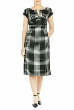 Our waffle check dress is styled with a split boat-neck and a curved empire waist to add just the right fit for our retro-inspired silhouette. Simple Dresses, Nice Dresses, Casual Dresses, Fashion Dresses, Dresses For Work, Fitted Dresses, Maxi Dresses, Knee Length Dresses, Short Sleeve Dresses