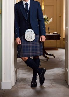 Our exclusive Arran Navy outfit continues to be our best selling choice for grooms due to its striking combination of gold and navy. Kilt Wedding, Wedding Men, Men In Kilts, Kilt Men, Kilt Hire, Kilt Jackets, Tilted Kilt, Irish Culture, Kente Cloth