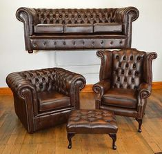 Chesterfield leather suite chair sofa B/NEW 3 colours