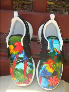 Custom Nike Roshe Run- Paradise Floral Parakeet Bird Black Nike Roshe Runs  - Women  d629a644e