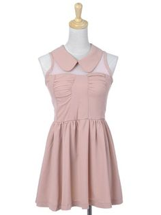Anna-Kaci S/M Fit Pretty in Pink Slim Girly Peter Pan Collar Sunday's Best Dress « Clothing Impulse