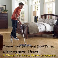There are DOs and DON'Ts to cleaning! Water and wood don't mix. Water causes deterioration of the wood itself, as well as the finish. Learn more! [5 Things To Know About Hardwood]
