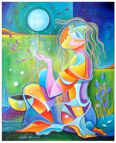 Marlina Vera CubJoseph Abhar - Abstrac oil Painting Guitars by Marlina Vera.ism Abstract Oil Painting