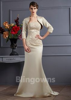 Embroidery Satin Sleeveless Zipper  Strapless Floor Length Jacket  Mermaid Mother Of The Bride Dresses