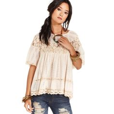 Free People Dandelion Cream Lace Babydoll Top NWT Papyrus/ cream color FP Babydoll Top size medium. Beautiful. Semi-sheer. Free People Tops Tunics
