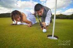 Fun wedding day pictures on golf course