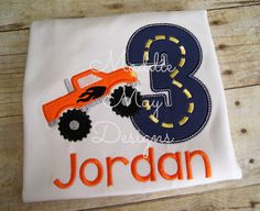 Monster truck birthday shirt appliqued and by MaddieMayDesigns